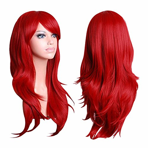 Red Wig,Acecharming Women's Wine Red Long Wavy Anime Bang Wig for Cosplay Costume with Cap (Red Wig With Bangs)
