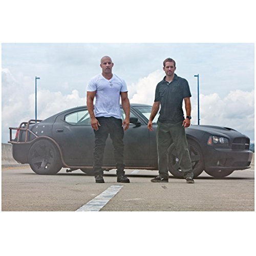 (Fast Five (2011) 8x10 Photo Vin Diesel White Tee & Paul Walker Blue Polo in Front of Black Car kn)