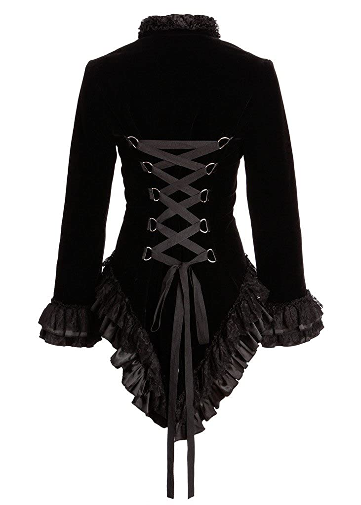 Pirate Women's Black Velvet Ruffles and Lace Victorian Back-Laced Tailcoat - DeluxeAdultCostumes.com