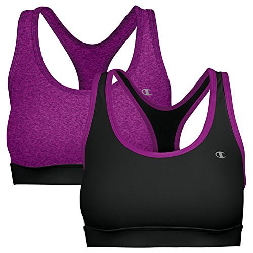 Champion 2 Pack Sports Bra with Removable Foam Cups (Small, Purple Black)