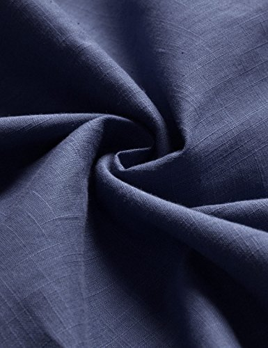 Lino Larga Henley Hombres dusknavy Cuello Nearkin Diario Nknkn370 Look Camisas Amada Manga 8XwSAq
