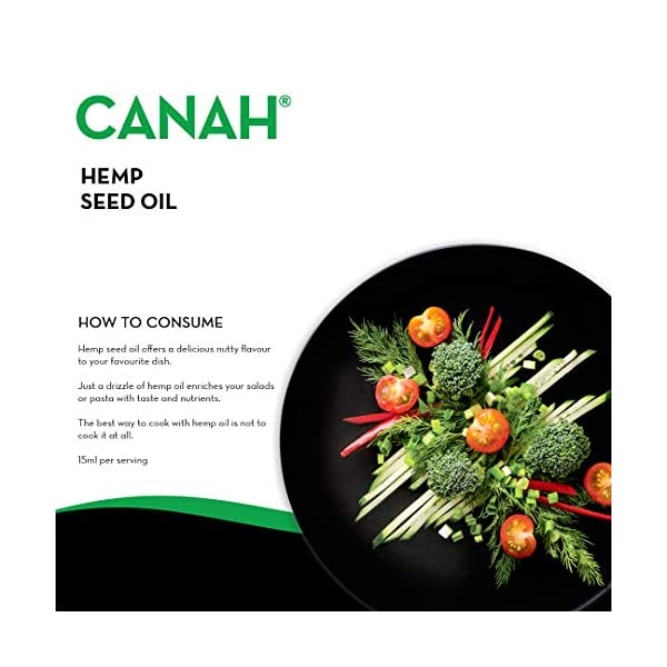 Natural Hemp Seed Oil by Canah 500 mililiters – Cold Pressed Unrefined Vegan Rich in Omega 3 Omega 6 Fatty acids contributes to Normal Blood Cholesterol Levels Contains Vitamin E Certified Kosher