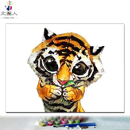 KYKDY Diy Färbung malt Bilder nach Zahlen Katze Hund Rubbit SchWeiß Tiger Löwe Wolf Pinguin Panda und Papagei Tiere Gemälde nach Zahlen, 7138 geschnittene Katze 2,70x100 kein Rahmen 30x40 no frame 7152 cut tiger
