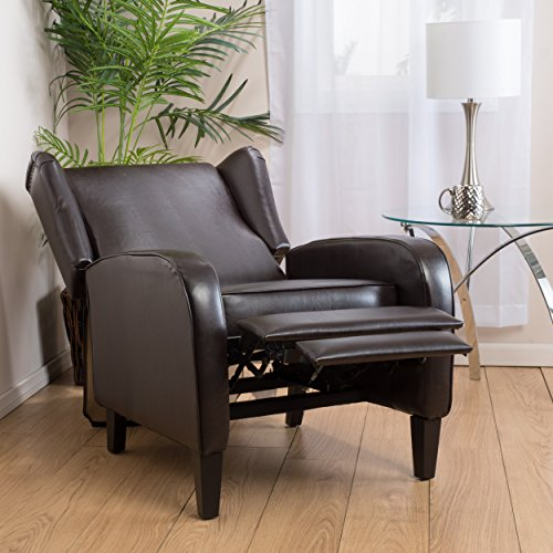 Great Deal Furniture Hadley Espresso Leather Wingback Club Chair (Reclining Wingback Chair)