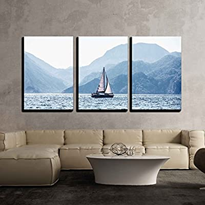 3 Piece Canvas Wall Art - Beautiful Sea Landscape, Sailboat Sailing on The Distance - Modern Home Art Stretched and Framed Ready to Hang - 24