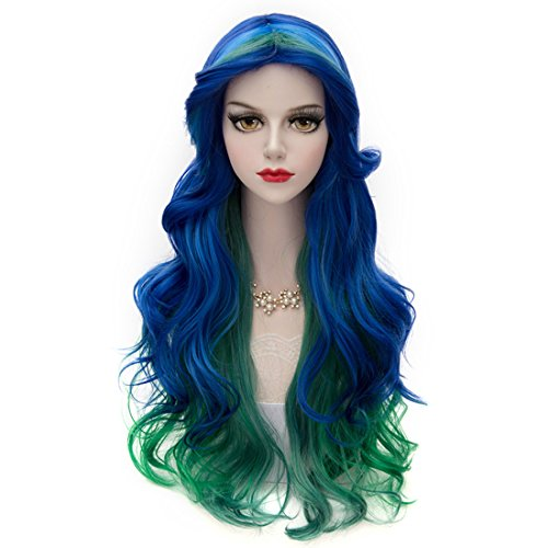 Fashional COS Long Airy Curly Hair Ombre Hair Cosplay Wig Costume Party Wigs (Blue to Green)
