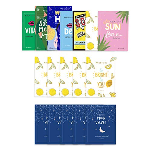 FaceTory Sheet Mask Bundle with Best of Seven, Moon Velvet, and Be Bright Be You Sheet Masks