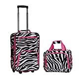 Pink Black White Girls Zebra Pattern Rolling Carry On Spinner 2-Piece Luggage Set, All Over African Safari Animal Stripes Themed, Fashion Travel Suitcase with Wheels, Fashionable, Lightweight