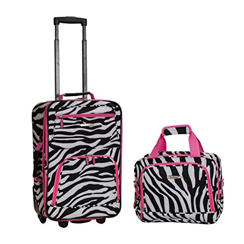 Pink Black White Girls Zebra Pattern Rolling Carry On Spinner 2-Piece Luggage Set, All Over African Safari Animal Stripes Themed, Fashion Travel Suitcase with Wheels, Fashionable, Lightweight by S & E