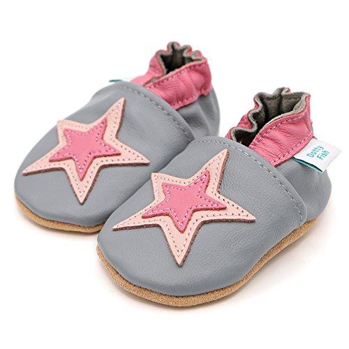 Dotty Fish - Zapatos de cuero suave para bebés - Niños y Niñas - Estrellado - (0-6 Meses - 4-5 Años) Gris y rosa de la estrella