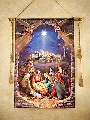 Lighted Nativity Scene Hanging Canvas Wall Art