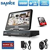 SANNCE 10.1 LCD Monitor 8CH Full HD1080P Lite DVR Recorder with 1TB Hard Drive High Definition H.264 Real-time Surveillance Camera System, Support Phone Remote Access Viewing, Motion Detect