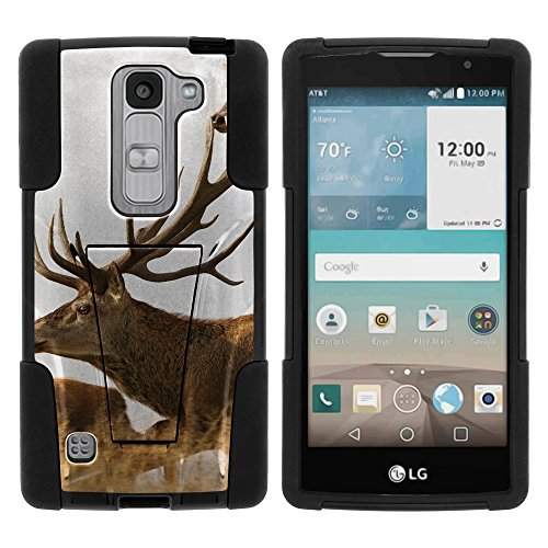 MINITUTLE Compatible with LG Escape 2 High Impact Silicone Gel and PC Fusion Strike with Stand Phone Case Hunting | Brown Deer