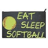Eat, Sleep, Softball School Pencil Case pencil Bag Zipper Clutch Organizer Purse Bag /Cosmetic Organizer Bag /Toiletry Bag/(Twin sides) 9.0''(L) x 5.5''(W)