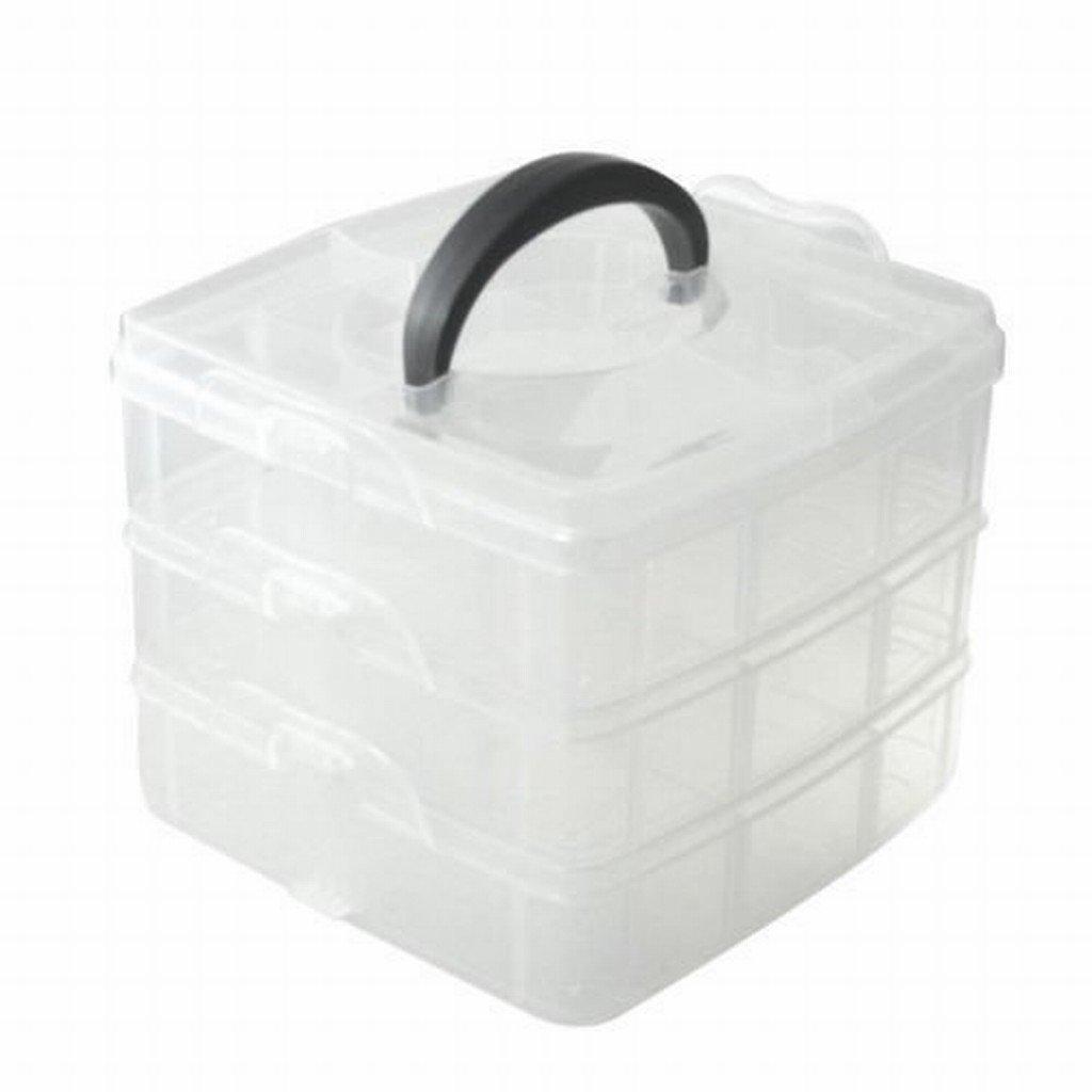 1 x 3 Tier verstellbare Perle Handwerk Schmuck Werkzeug Lagerung Veranstalter, mit 18 Fächern, Behälterkasten mit 18 Fächern Behälterkasten Ardisle AEQW-WER-AW147122