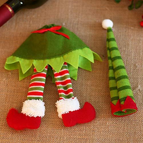 JUNMAONO 2 Piezas Cubierta De Vino De Navidad, Navidad Bolsa De Vino Tinto Botella, Botella De Vino Cubierta De Bolsa, Protector De Botella De Vino, ...