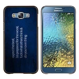 KLONGSHOP // Cubierta de piel con cierre a presión Shell trasero duro de goma Protección Caso - Esperamos lo mejor - Samsung Galaxy E7 E700 //