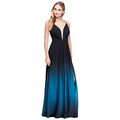 Davids Bridal Ombre Chiffon Halter A-Line Prom Gown Style A20299 - Blue -
