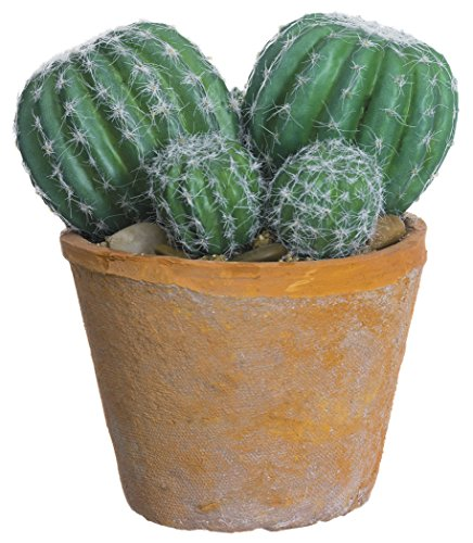 6.5 Inch Barrel Cactus in Clay Pot, Artificial Cactus (Plant Barrel Cactus)