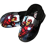 Iron-Man Slippers for Boys Black Warm Fur Clog Mule Indoor Shoes (Parallel Import/Generic Product) (4.5 M US Big Kid)
