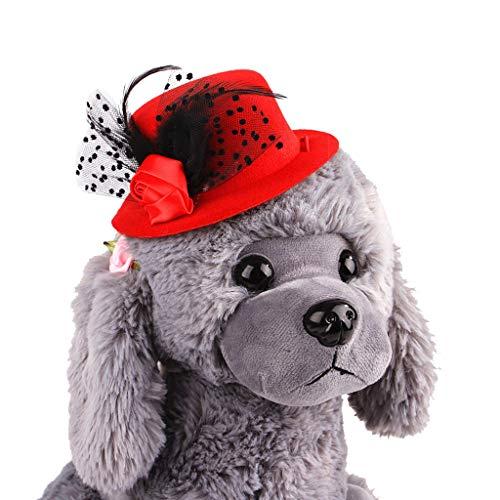Longay Pet Summer Cap Dog Hat Visor Hat Outdoor Cap Cat Feathers Lace Hat (Red)