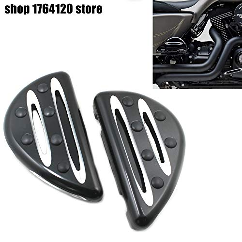Frames & Fittings Motorcycle Pedal Black Cast Chrome Rear Black Passenger Floorboards Billet Aluminum for Harley FLH FLST FLD ()