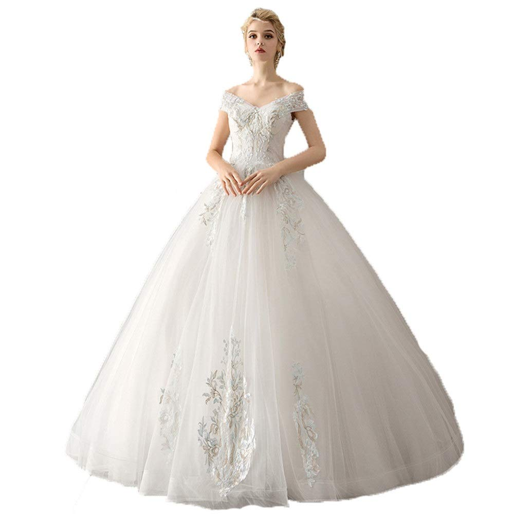 Canyixiu Wedding Gown Women Off Shoulder Floral Lace Applique