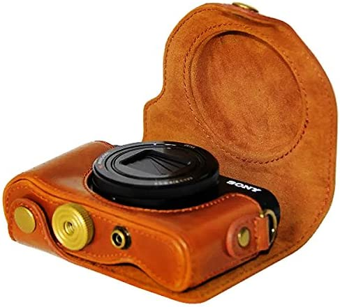 First2savvv XJPT-HX90-09 Custodia Fondina in pelle sintetica per macchine fotografiche reflex compatibile con Sony Cyber-Shot DSC HX90 WX300 marrone