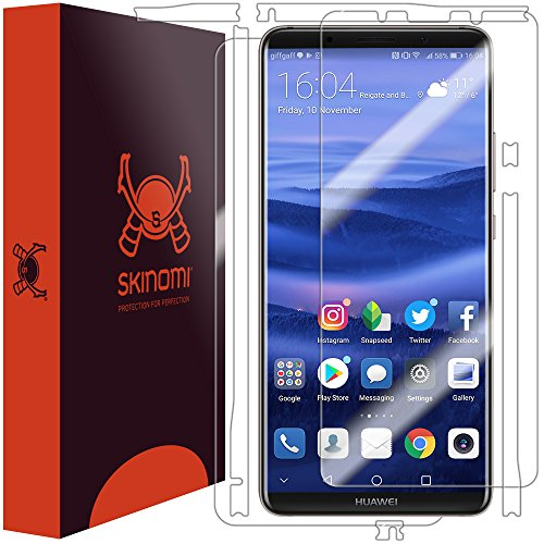 (Huawei Mate 10 Pro Screen Protector + Full Body, Skinomi TechSkin Full Coverage Skin + Screen Protector for Huawei Mate 10 Pro Front & Back Clear HD Film)