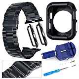 Band & Bumper [42mm] for Apple Watch - Black Stainless Steel Replacement Link Strap [Series 1 & 2 Compatible] - Classic iWatch Wristband with Double Button Folding Clasp