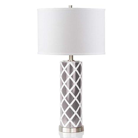 Lámpara de mesa dormitorio Lámpara de mesa de cerámica gris ...