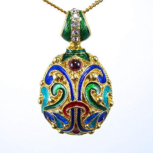 Traditional Russian Cloisonne Multicolor Enamel Necklace Sterling Silver Egg Pendant 24k Gold Plate Chain Genuine Garnets Swarovski -