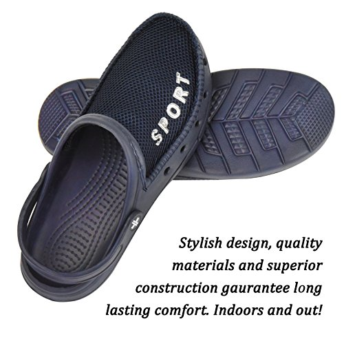 Slippers Indoor Waterproof Blue Classic Rubber Sport Mens Breathable Sandals Outdoor Clogs Mesh Roxoni with Upper nqzc0AaW