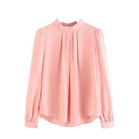 Vovotrade Moda Camiseta Tops Blouse Verano Camisa de Manga Larga de gasa Casual de Mujer Elegante