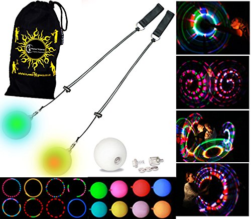 LED Poi - Glow Poi - Multi Function LED Glow Poi by Flames N Games (20 Settings) +Travel Bag! - Led Juggling Balls