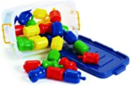 Excellerations Fun Pop Linking Beads with Storage Bin 28 Pcs Snap Together, Pull Apart Large Plastic Beads, Great for Toddler