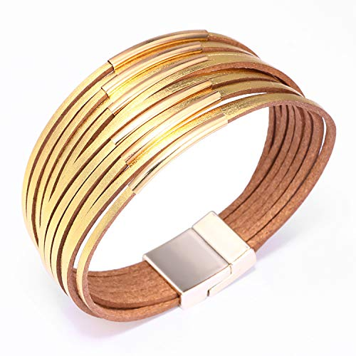 KSQS Boho Multilayer Leather Wrap Bracelets Gorgeous Handmade Braided Wrap Cuff Magnetic Buckle Casual Bangle for Women&Girl - Tube Gold Bracelet