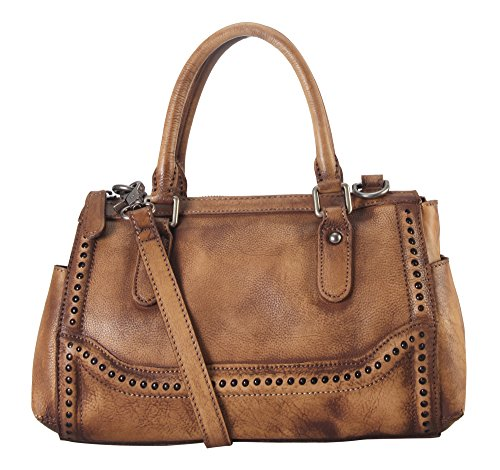 Diophy Genuine Leather Old Fashion Top Handles Doctor Style Handbag 140155 (Brown)