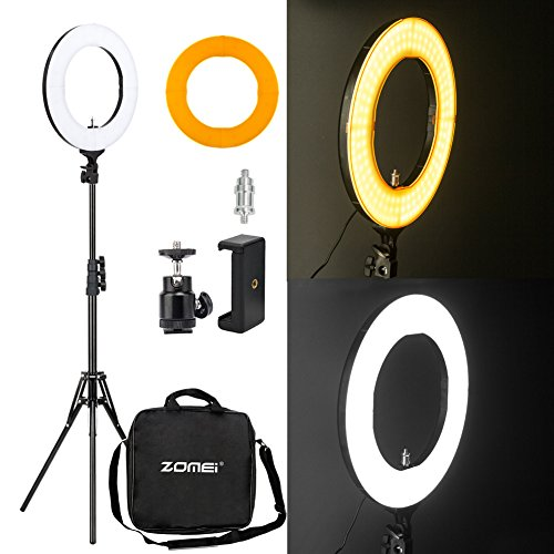 Zomei 14″ LED Ring Light with Light Stand- 41W 5500K Dimmable Lighting Kit with Phone Adapter for Smartphone for Youtube Video, Makeup, Portrait