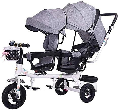 Doble Cochecito Doble Asiento para niños Bicicleta de Paseo en Triciclo,A