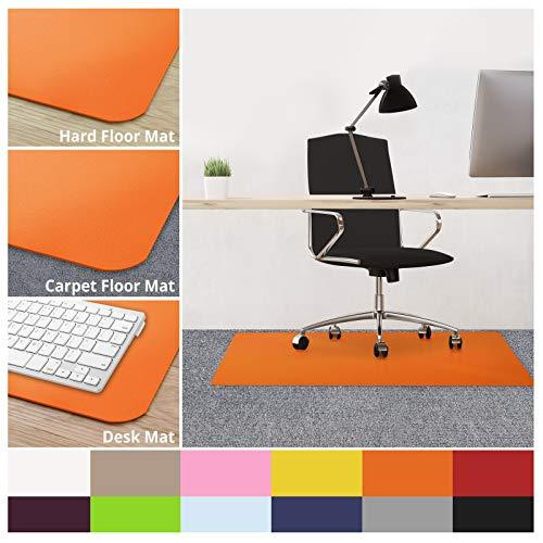 casa pura Office Chair Mats for Carpeted Floors - 30x48 | Carpet Protector Floor Mat, Orange - BPA Free, Odorless | Matching Desk Mats Available