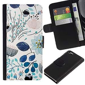 WINCASE (No Para IPHONE 6 PLUS) Cuadro Funda Voltear Cuero Ranura Tarjetas TPU Carcasas Protectora Cover Case Para Apple Iphone 6 - primavera verde azulado azul floral patrón