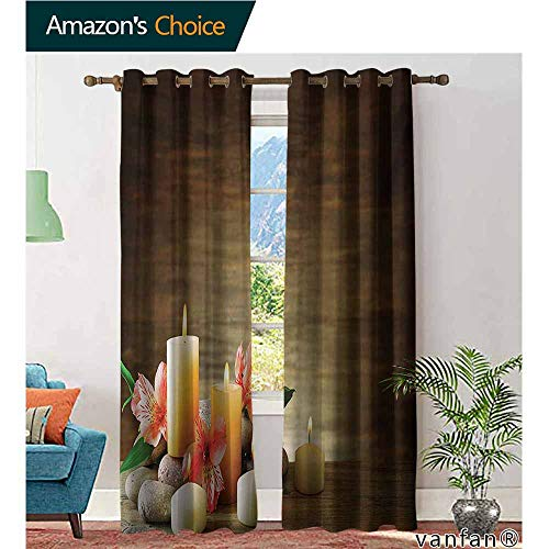 Print Window Treatment Easy Care Curtains,SpaSpa Composition with Many Candles Wellbeing Unity Neutrality Icons Calm Happiness Theme,for Bedroom Grommet Drapes and - Discount Wedding Candles Unity