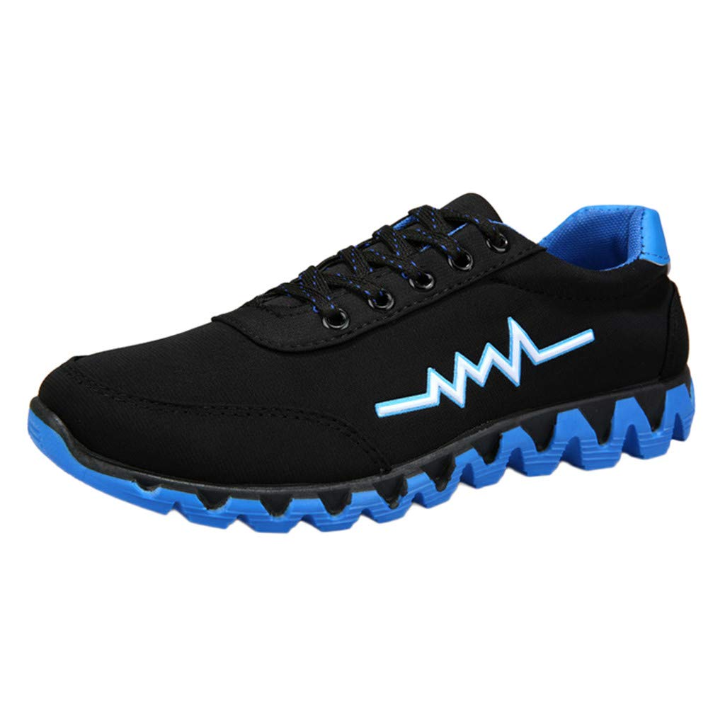 KESEELY Men Shoes Fashion Sport Casual Breathable Shoes Outdoor Hiking Boots Lace Up Splice Color Shoes Blue