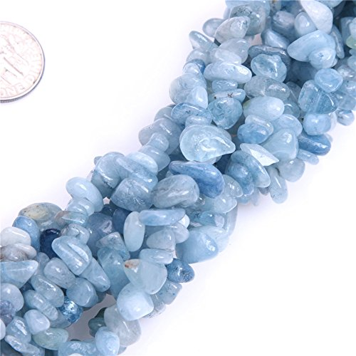 6-8mm Natural Aquamarine Chips Beads For Jewelry Making Freeform 34