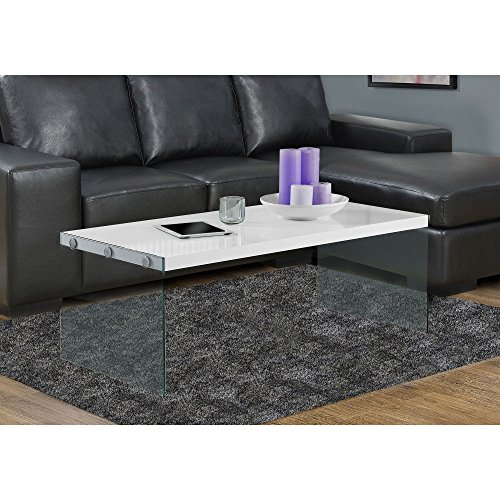 "Monarch specialties  I 3286, Coffee Table, Tempered Glass, Glossy White, 44""L"