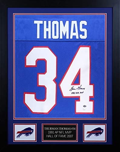 Thurman Thomas Autographed Blue Buffalo Bills Jersey - Beautifully Matted and Framed - Hand Signed By Thurman Thomas and Certified Authentic by JSA - Includes Certificate of Authenticity - Framed Thurman Thomas Buffalo