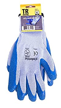 TR Industrial Polyester Base Working Gloves, Latex Coated Smooth Grip, Size XL - 12-Pairs