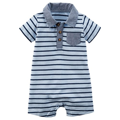 Carter's Carters Baby Boys Snap-Up Cotton Romper (9 Months, Blue Horiz Stripe)