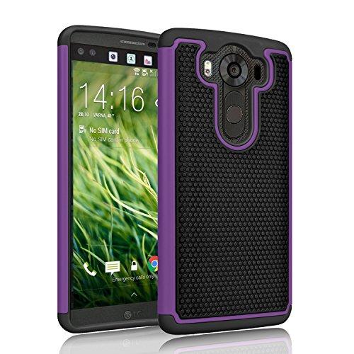 LG V10 Case, Tinysaturn(TM) [Ysaturn Series] [Purple] Hybrid Shock Absorbing Slim Rugged Plastic Hard Shell Rubber Bumper Impact Defender Cover Case For LG V10 (2015) H961N H900 VS990 H901 H968